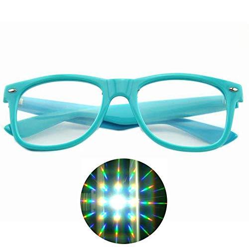3D Brille 1 Stücke Hartplastik 3D Raves Prisma Beugung Gläser, Feuerwerk Regenbogen 3D Eyewear Mit 13500 Starke Linse, Blaue Farbe