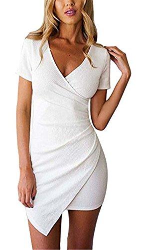 SHUNLIU Damen Sommerkleider Festlich Mädchen Elegant Kurzarm V-Ausschnitt Unregelmäßig Kurz Schlank Ballon Einfarbig Cocktailkleid Petticoat Partykleider Weiß