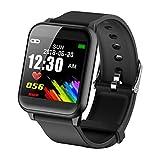Tomasa Bluetooth Smart Watch,Volle Touchscreen Smart Armbanduhr,Wasserdicht IP67 Fitness Tracker Kompatibel iOS Android für Männer, Frauen, Kinder (Schwarz)