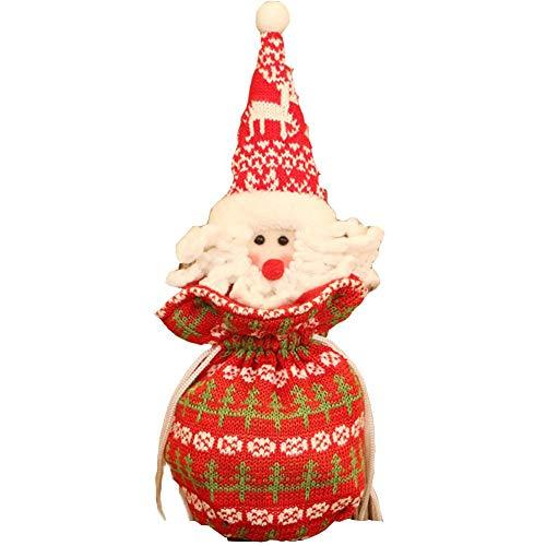 iStary Geschenktüten Weihnachten ,Santa Claus Schneemann Elk Kleine Tasche Weihnachten Kordelzug Weihnachten Candy Bag Weihnachtsbeutel Dekor Hochzeits Haus Partei Süßigkeit