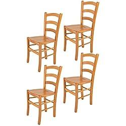 Tommychairs sillas de Design - Set 4 sillas Modelo Venice para Cocina, Comedor, Bar y Restaurante, con Estructura en Madera Color Miel y Asiento en Madera