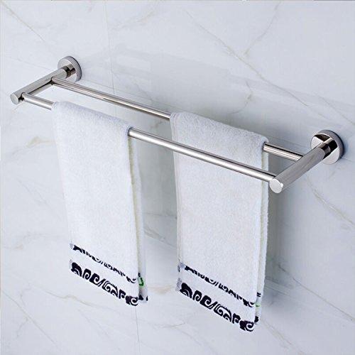 Amzdeal Bad-Accessoires Handtuchstange (zweifach) aus hochwertigem Edelstahl und verchromten Messing matt gebürstet bis 25kg Belastbar