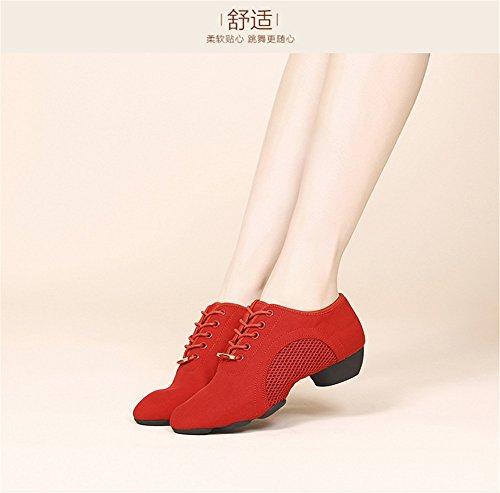 SQIAO-X- Scarpe Da Ballo Morbida Pelle Di Fondo Kraft, Danza Moderna Square Dance Scarpe Da Ballo Red oxford tessuto