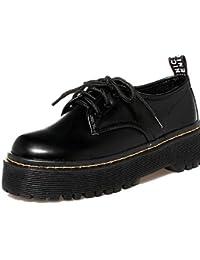 ZQ Zapatos de mujer - Tacón Plano - Punta Cerrada - Oxfords - Casual - Semicuero - Negro / Blanco , black-us8 / eu39 / uk6 / cn39 , black-us8 / eu39 / uk6 / cn39