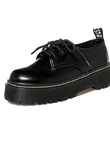 ZQ hug Scarpe Donna - Stringate - Casual - Punta arrotondata / Chiusa - Quadrato - Finta pelle - Nero , black-us8 / eu39 / uk6 / cn39 , black-us8 / eu39 / uk6 / cn39 black-us5.5 / eu36 / uk3.5 / cn35