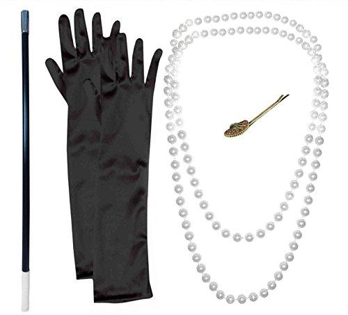 1920er Jahrer Zubehör: Perlen-Halskette mit Zigarettenspitze und schwarze (Mode 1920 Zubehör Kostüme Und)