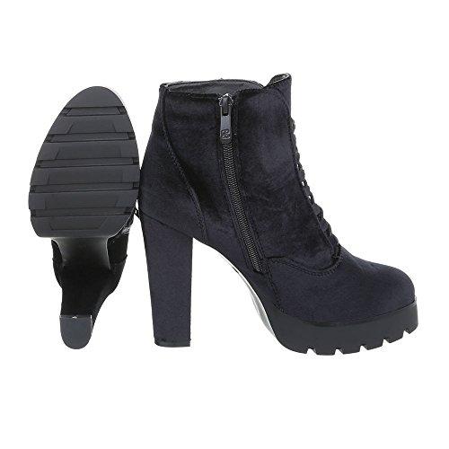 Ital-Design Klassische Stiefeletten Damenschuhe Klassische Stiefeletten Pump High Heels Reißverschluss Stiefeletten Schwarz