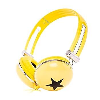 RockPapa OV820S DJ Cuffie per Bambini/Adulti, Regolabile, Over-Ear per Smartphone, Tablet, MP3/4, DVD, iPod, iPad, iPhone Giallo