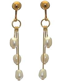 85e5d437e63e Addie gotas chapado en oro Triple blanco agua dulce perla Clip en pendientes