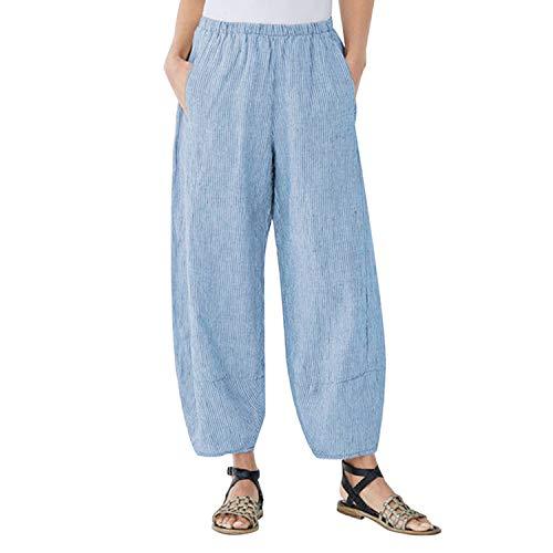 Waist Turnip Blue Summer Baggy Casual Xxxl Striped Pockets Wide Elastic New Pants Leg Loose Harem Trousers Women Long rdWCxBeo
