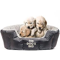 La Cama Del Perro, camas Premium, diseño de perro en gris y marrón S/M/L, totalmente lavable con almohada extraíble, hyper-allergenic, alta calidad y muy suave y cómoda–el último en lujo de PET:)