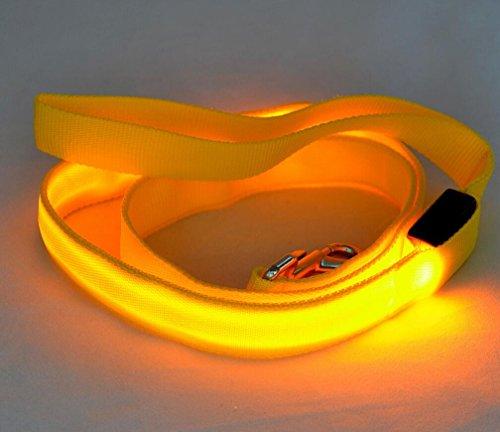 Maycong Hunde Geschirre LED Glowing Reflektierende Sicherheitsleine USB Wiederaufladbar für Nachtsichtbarkeit (Gelb)