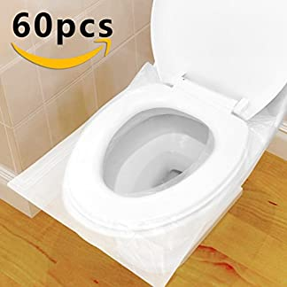 411u6z6YCZL. SS324  - Protector WC Desechable Impermeable, HTBAKOI Protector Water Desechables Papel Cubre Inodoro 60 PCS Paquete Individual Material Antibacteriano Talla Universal Funda Desechable wc para Baño