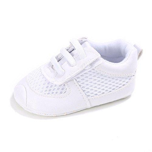 WOCACHI Baby Jungen Mädchen Rasterfeld Schnürung beschuht Turnschuh rutschfeste weiche alleinige Kleinkind Schuhe Sneaker Krabbelschuhe (12CM, Weiß) Weiß