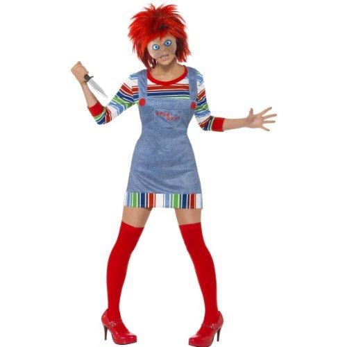 Halloween Damen Kostüm Chucky Mörderpuppe aus Horrorfilm Größe S (Chucky Childs Play Kostüm)