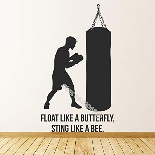 zqyjhkou Ali Zitat Boxen Wandaufkleber Float wie EIN Schmetterling Stachel wie eine Biene Sagen Aufkleber Dekor Sport Studio Art Design Eb232 80x137cm