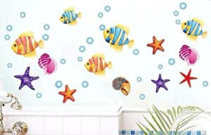 DecoBay Colourful fish, star fish and sea shell wall stickers, home art decoration - Adhesive Removable Wall Stickers Bathroom Wall Stickers