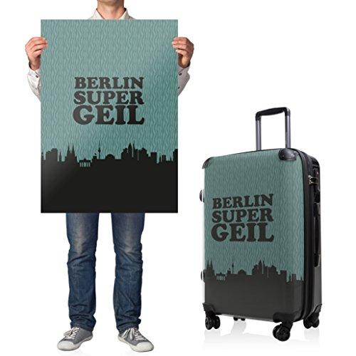 """HAUPTSTADTKOFFER® · Hartschalenkoffer Koffer Trolley Reisekoffer Hartschale · Serie """"Style"""" (Eule Strand Sonnenschirm) Berlin Super Geil"""
