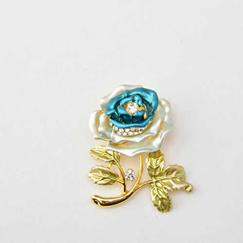 Fleur Rose Broche de Mode Doré en Strass Femme Bijou pr Mariage Bleu