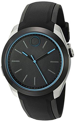 MOVADO Herren-Armbanduhr 44MM Armband Silikon Schwarz Schweizer Quarz 3660001