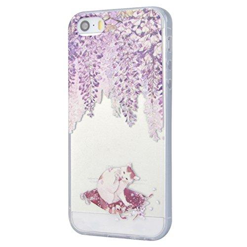 GrandEver Coque iPhone 5 / 5s / SE Transparente Silicone Gel avec Souple Fine Rose Flamant Flamingo Design Bumper Utra Mice Soft Doux Flexible Case Etui Cover Housse pour iPhone 5 5s SE Chat