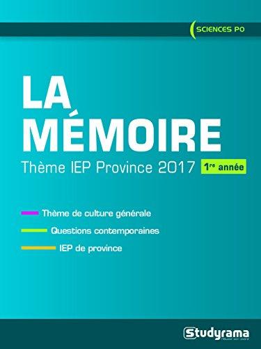 Theme IEP province 2017 (1re année) : La mémoire par Christian Bardot