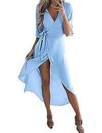 0b036bee9236c Ode-joy Donna Cardigan Bende Manica Corta Vestito Colletto a V sopra Le  Caviglie gonne Eleganti Lunghe e estive di…