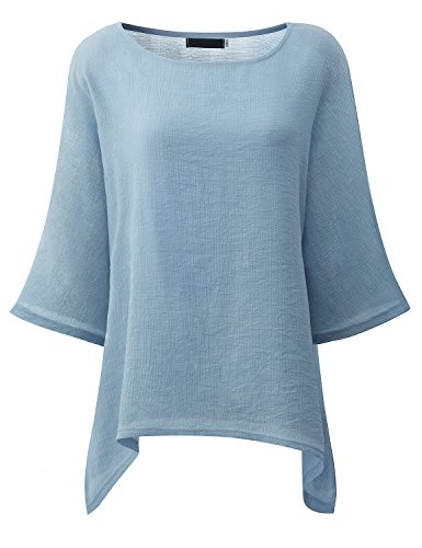 Süße 3/4 Ärmel T-shirt (Damen Lose 3/4 Ärmel T-shirt Rundhals Oversized Tops Baggy Batwing Pullover Asymmetrisch Hemd Sweatshirt Oberteil (S, Hellblau))