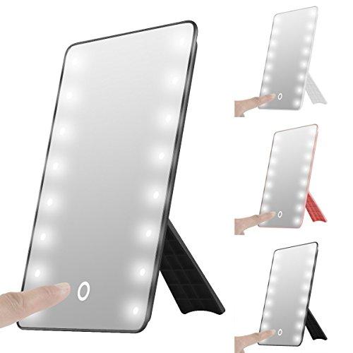 Faltbare LED beleuchteter Kosmetikspiegel mit Licht, SOONHUA Smart Touch Hinterbauständer 16LED beleuchteter Kosmetikspiegel Make-up kosmetische Aufsatz- Cordless Tabellen-Spiegel Einstellbare Helligkeit (Black)