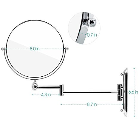 Spaire Bathroom Mirror With 7X Magnification Wall Mounted Shaving