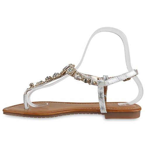 Damen Sandalen Strass | Metallic Zehentrenner | Dianetten Schuhe Prints Blumen | Flats Zierperlen Silber
