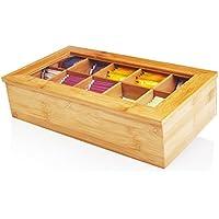 Lumaland Cuisine Teebox aus Bambus Teebeutelbox mit 10 Fächern ca. 36,7 x 20 x 9 cm nachhaltiges Material dekorativ edel