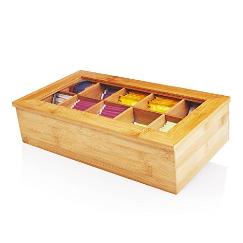 Lumaland Cuisine Caja de té de bambú con 10 compartimentos de aprox 36,7 x 20 x 9 cm material sostenible práctico y decorativo