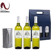 Vino Blanco Viura - Pack de 3 Botellas incluye Enfriador - Caja Regalo Original - Denominacion