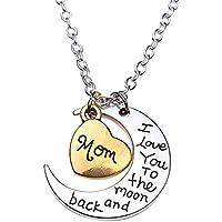 bigboba plata carta collar con corazón luna collar colgante creativo I Love You mamá joyería accesorios para las mujeres cumpleaños Festival regalos (#1)