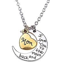 Cosanter Mama Aleación Collar Love Silver Moon Collar para Regalo de Cumpleaños de Navidad (Mom