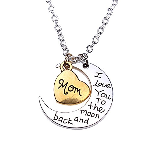 Hosaire Legierung Halskette Mode Heart-Form Schmuck Necklace Familienmitglied Anhänger Kette I Love You to The Moon and Back Halsketten (Mom)