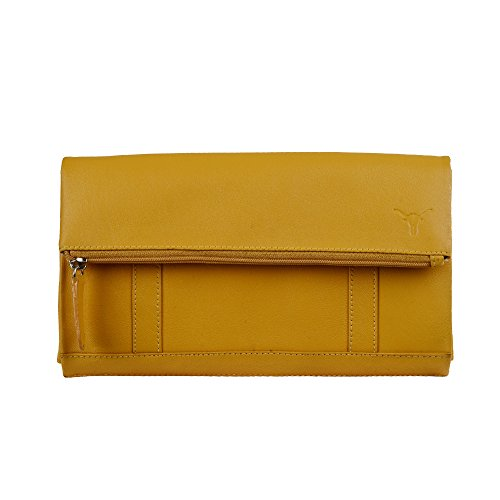 Hidekraft 100% Genuine Leather Clutch for Women, Mustard Yellow  available at amazon for Rs.799