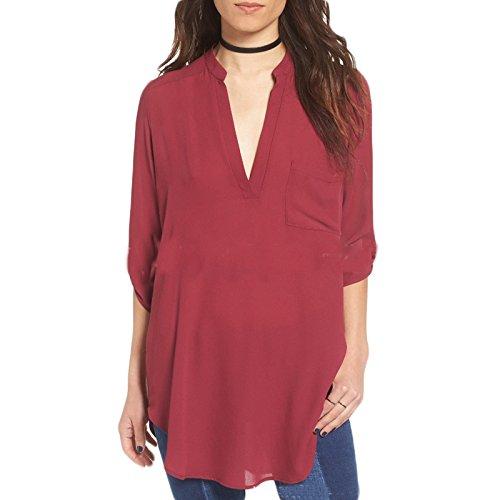LQKA-EU Femme V-Neck manche 3/4 Casual Mode lâche Irreguliere Chiffon Couleur Pure Top Haut Blouse Chemise T-Shirt Tops Vin rouge