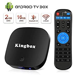 Kingbox Android Tv Box 2+16GB Quad-Core Android Box mit WiFi 2.4G/ 4K / 3D HD/H.265 /LAN 100 Smart TV Box