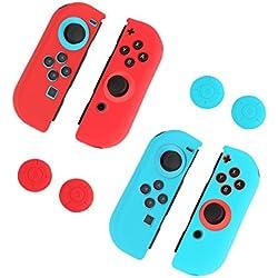 Pojazia Gel e barriere di protezione del bastone del pollice Tappi per Nintendo Interruttori Joy-Con 2 set - blu + rosso