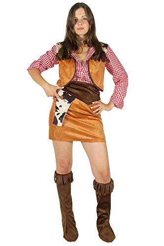 Foxxeo Cowboy Kostüm für Damen sexy Western Kleid Cowgirl zu Karneval und Fasching Größe - Sexy Cowboy Kostüm