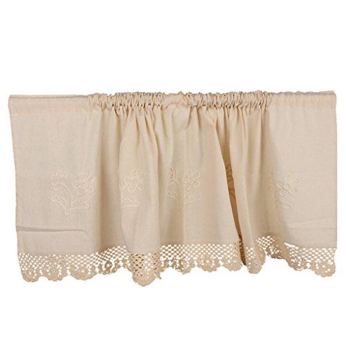 Homyl delicata tende corti della finestra casa fashions cotone lino finestra tier cucina sipario mantovane - beige, 45 * 150cm
