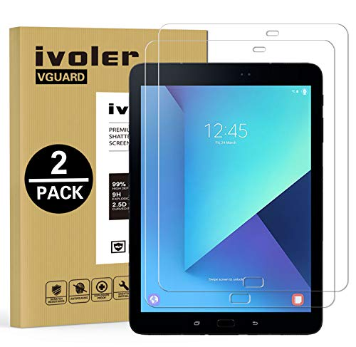 iVoler Kompatibel für Panzerglas Schutzfolie Samsung Galaxy Tab S3 9.7 Zoll / S2 9.7 Zoll, 9H Härte, Anti- Kratzer, Bläschenfrei, 2.5D R&e Kante, [2 Stücke]