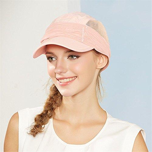 Kenmont femmes d'été Chapeaux de soleil topee visière casquette de baseball UV 50 + rabat Chapeau Protection du cou respirant de pêche avec pare-soleil Masque Nude Pink