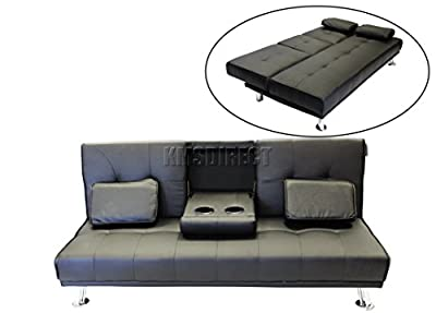Faux Leather Manhattan Sofa Bed recliner 3 Seater Modern Luxury Design Furniture Double Cup Holder Black
