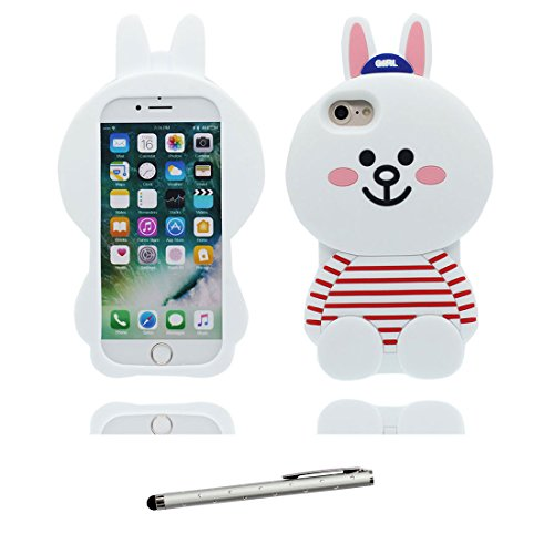 "iPhone 7 Coque, iPhone 7 Étui Cover Housse [Cartoon 3D lapin Stripe Cute] Gel TPU Shell iPhone 7 Case (4.7"") Résistant à la poussière Scratch et stylet blanc"