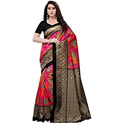 Kanchnar Women's Black And Multi Poly Silk Printed Saree
