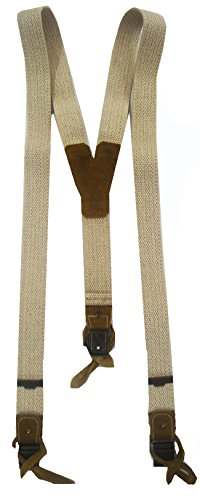 Hochwertige Trachten Hosenträger für Herren in beiger Leinenoptik 120cm