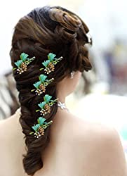 AASA Flower Hair Pins For Women Party Wear, Hair Pins And Accessories, Green, 20 Gram, 5 Pcs, Pack Of 1